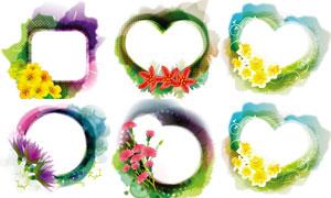 鲜艳花朵装饰墨迹边框设计矢量素材