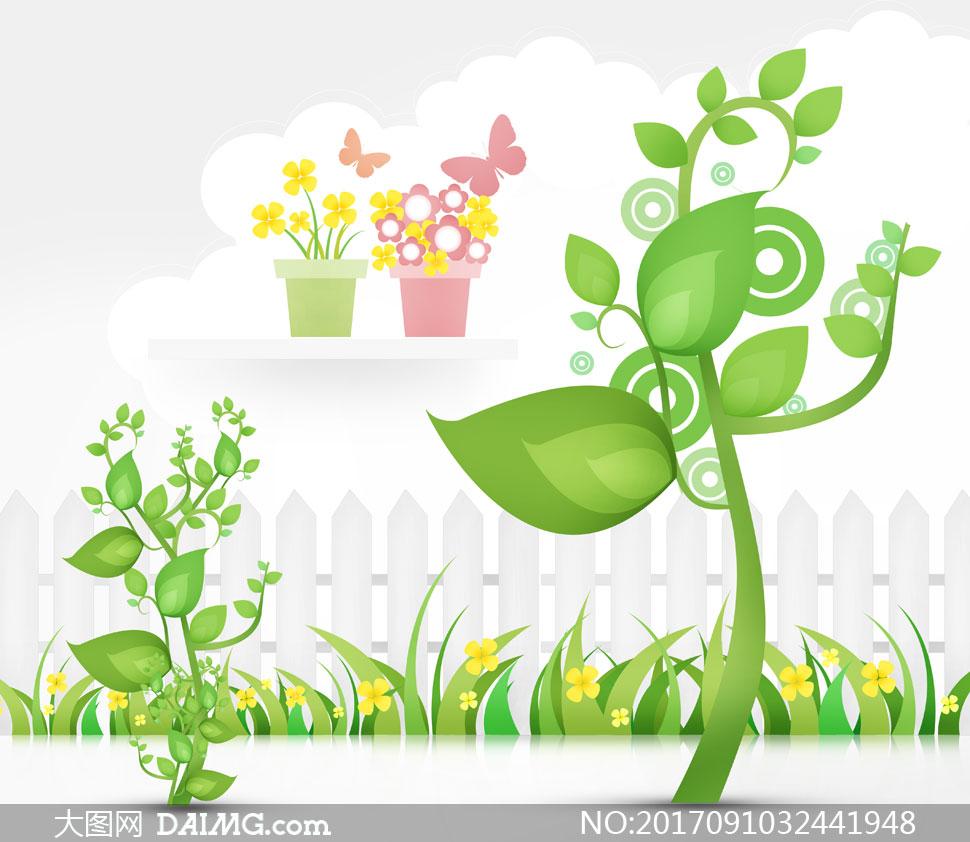 春天花草树木与篱笆等创意分层素材