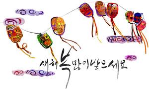 绳子上随风飘舞的面具设计分层素材