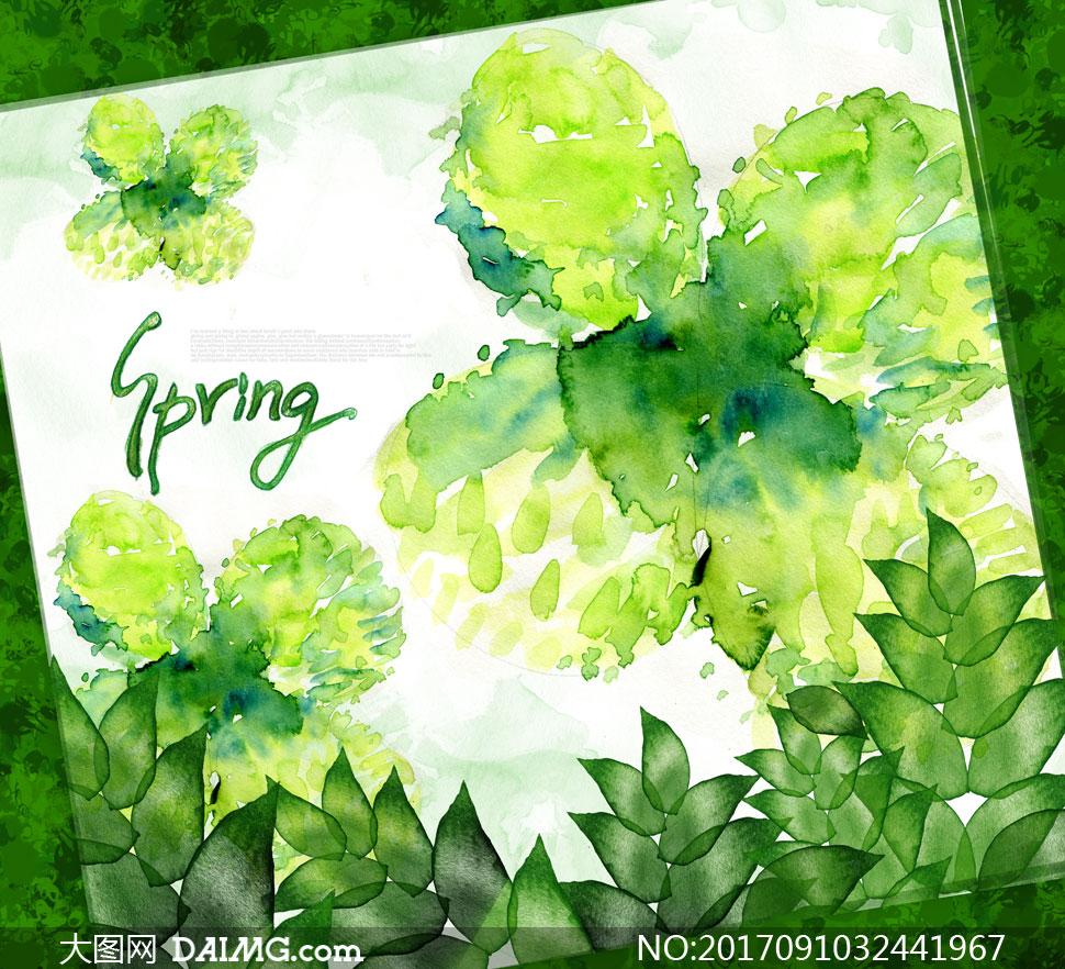 水彩泼墨风格春天树叶创意分层素材
