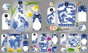 青花瓷与花朵元素标签设计矢量素材