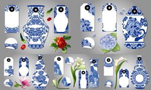 中国风青花图案标签等设计矢量素材
