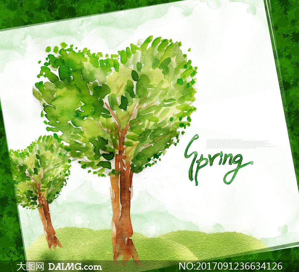 心形树冠的大树水彩画创意分层素材