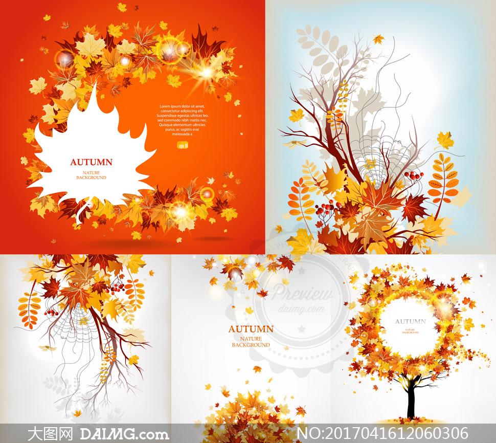 星光树叶与树枝边框等创意矢量素材