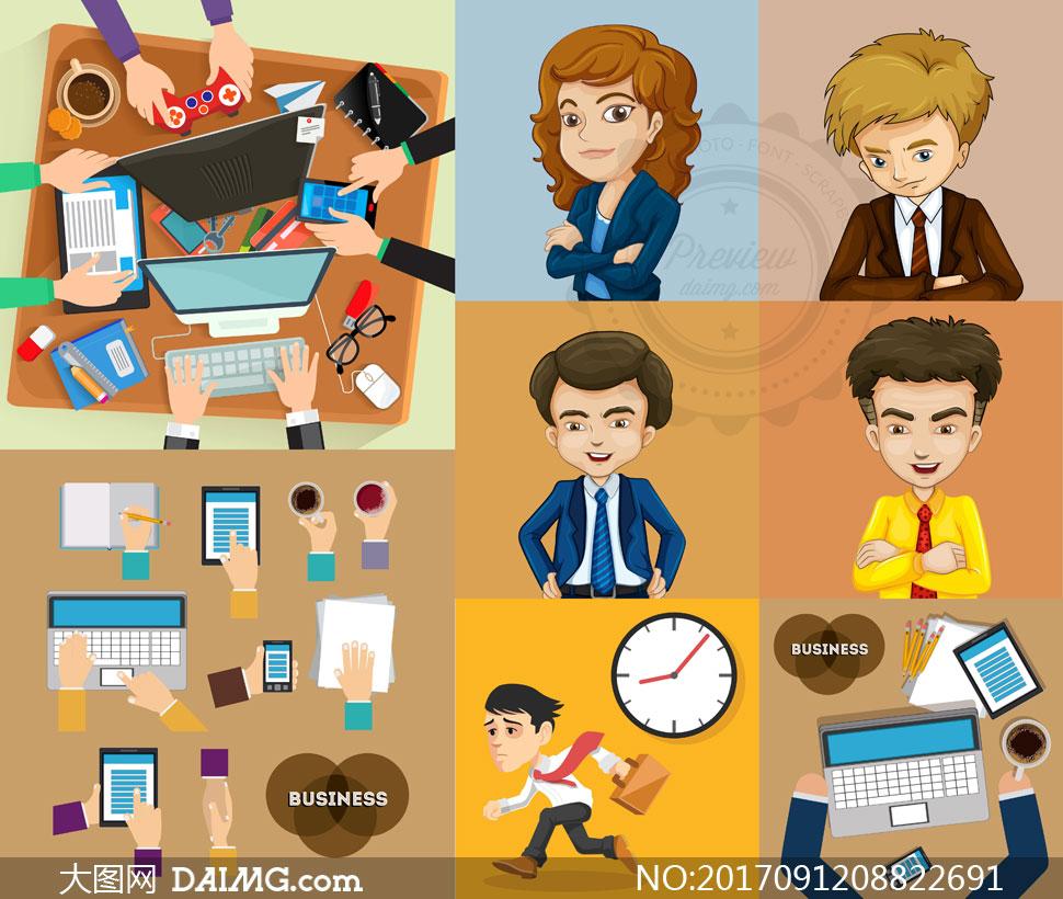 职场人物与办公室用品设计矢量素材