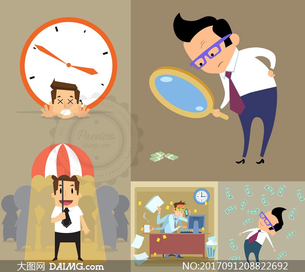 可爱卡通风格商务人物创意矢量素材         职场人物与办公
