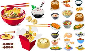 面条米饭与包子烤串等食物矢量素材