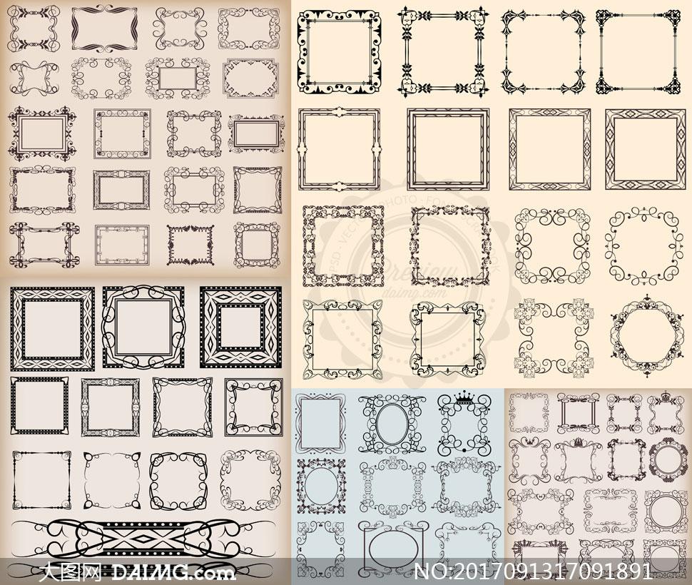 欧式古典怀旧风格花纹边框矢量素材