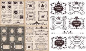 分隔线与欧式古典花纹边框矢量素材