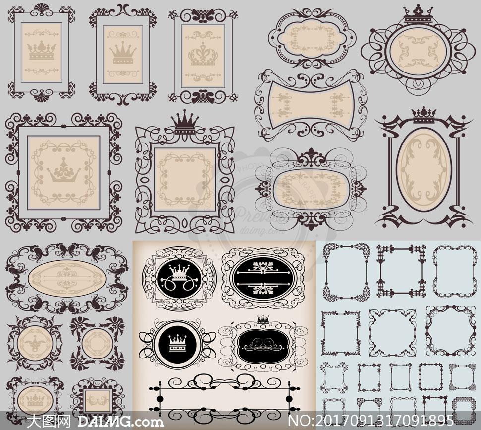 精美欧式风格花纹边框设计矢量素材