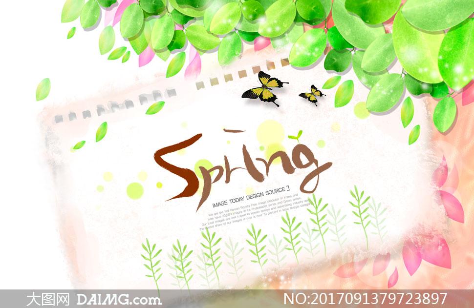 春天绿叶与纸上的蝴蝶创意分层素材 - 大图网设计素材图片
