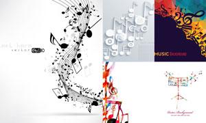 低多边形与音符等创意设计矢量素材