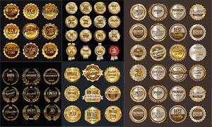 金色质感豪华效果标签设计矢量素材