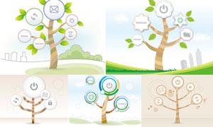 以树木为元素插画创意矢量素材V02