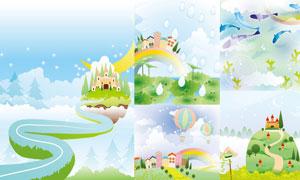 房子彩虹与热气球卡通插画矢量素材
