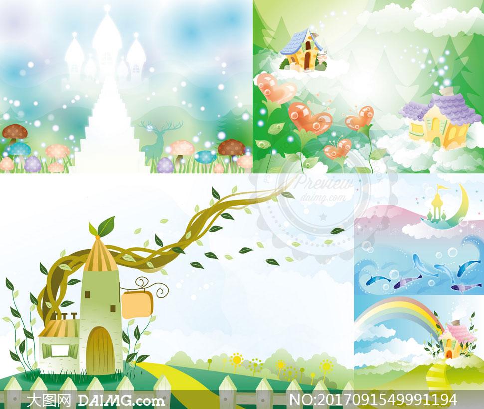 关 键 词: 矢量素材矢量图设计素材创意设计插画卡通城堡星光心形房子