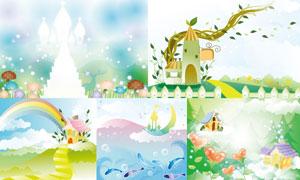 树藤房子与彩虹等插画创意矢量素材
