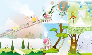大树房子与小火车卡通插画矢量素材