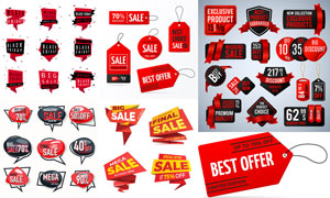 黑红对比色彩促销打折标签矢量素材