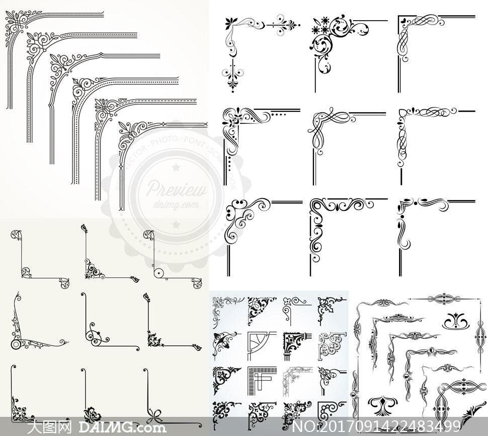 黑白效果花纹边框装饰元素矢量素材