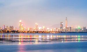 深圳湾美丽夜景全景照摄影图片