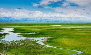 边疆草原小河流美丽风光摄影图片