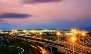 重庆机场T3航站楼美丽夜景摄影图片