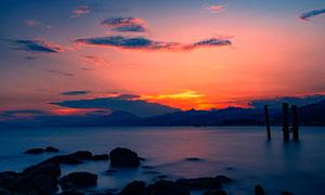 海边美丽的日落景观摄影图片
