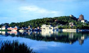 蓝天下美丽颐和园景观摄影图片