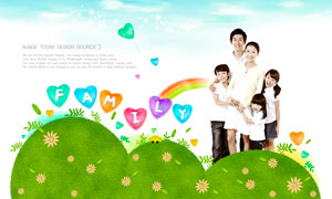 气球彩虹与幸福一家人创意矢量素材