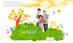云朵上的幸福三口之家人物分層素材