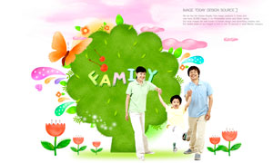 一家人與大樹蝴蝶創意設計分層素材