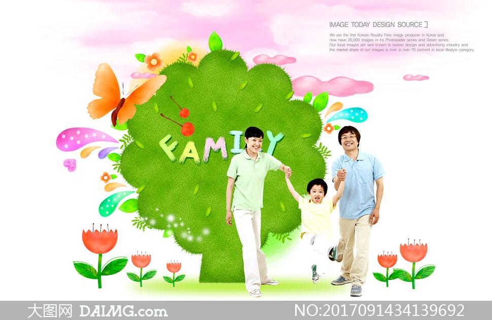 一家人与大树蝴蝶创意设计分层素材