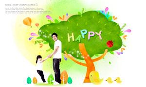 父女俩与星光大树创意设计分层素材