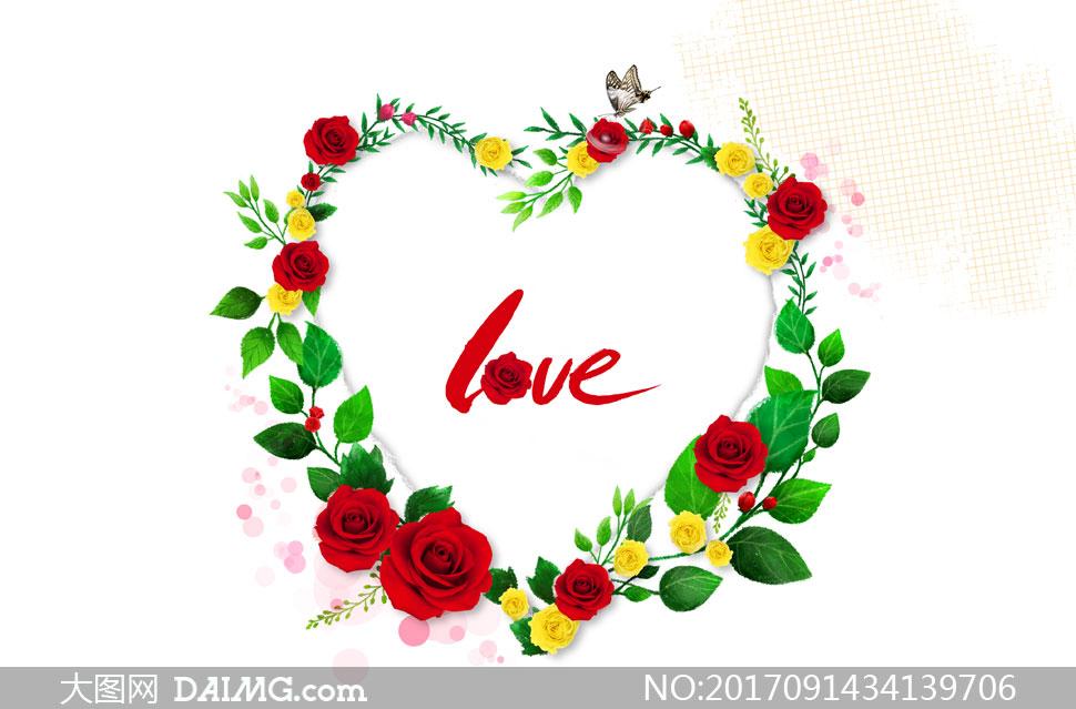 心形玫瑰花朵藤蔓边框设计分层素材 - 大图网设计素材