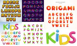 五套英文字母主题设计创意矢量素材