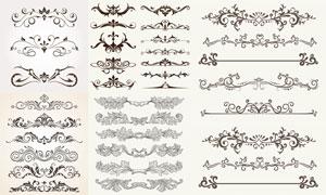 怀旧风格花纹图案与分隔线矢量素材