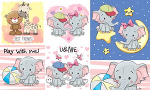 卡通风格大象小熊与长颈鹿矢量素材