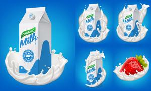 草莓与牛奶包装盒主题设计矢量素材