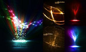璀璨星光装饰炫丽线条创意矢量素材