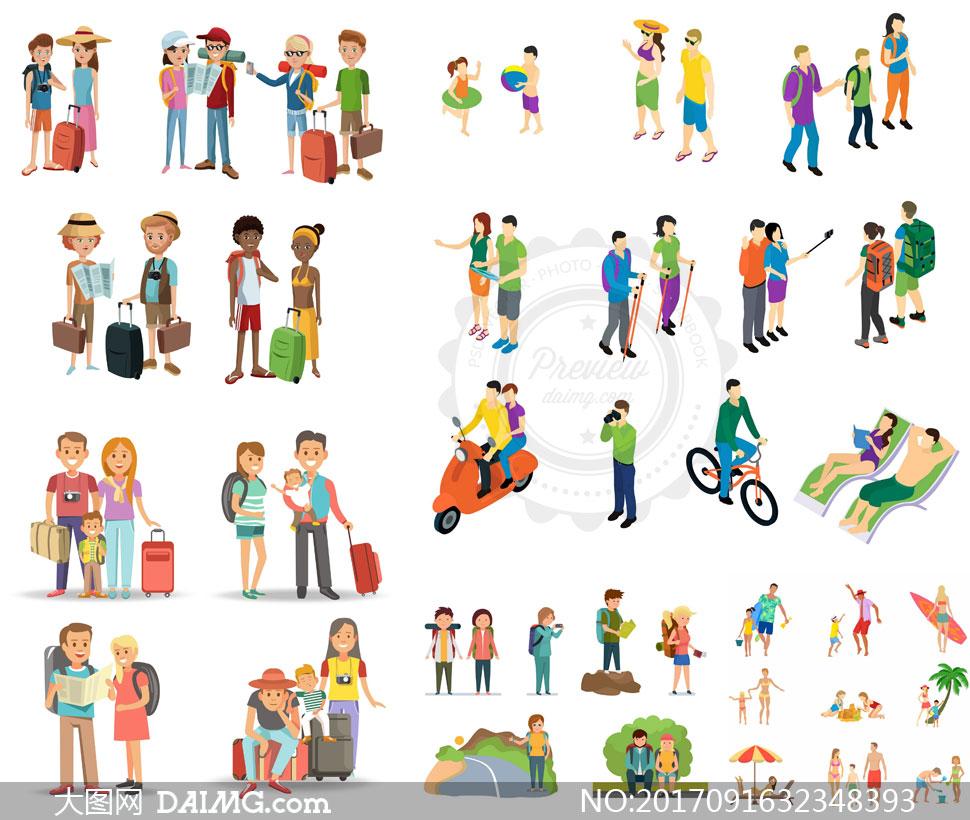 矢量素材矢量图设计素材创意设计矢量人物情侣恋人爱人旅行旅游出游