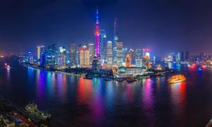 上海外滩夜景风光全景图摄影图片