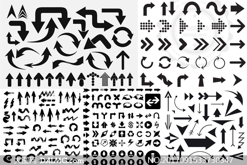 形态不一的各种箭头主题矢量图v02