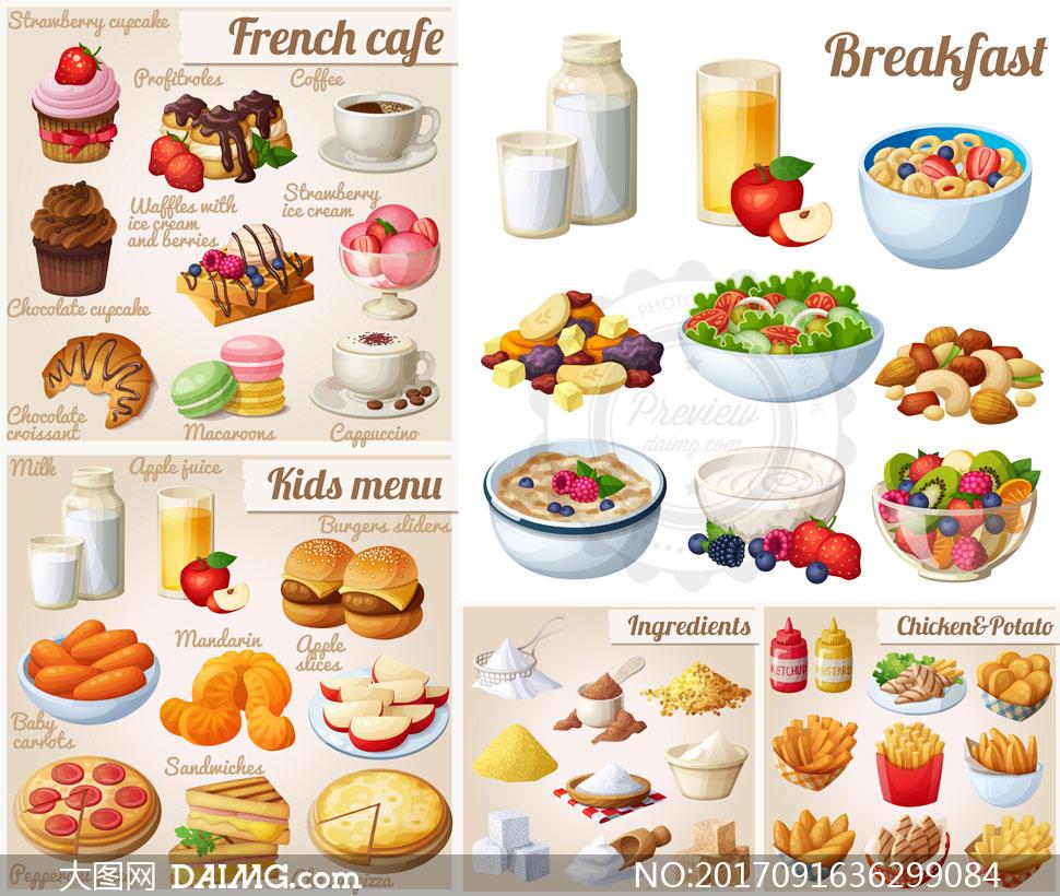 牛奶三明治等营养早餐食物矢量素材