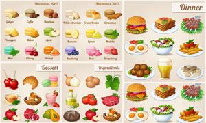马卡龙饼干与美食主题创意矢量素材