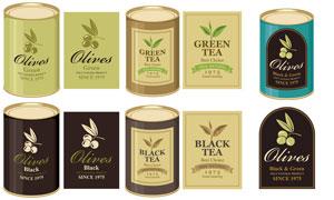 绿茶与红茶等茶叶包装标签矢量素材