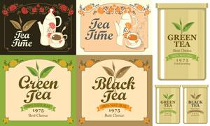 茶壶茶碗等茶文化创意设计矢量素材