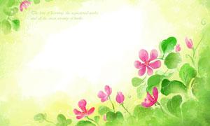 绿色粉红花卉植物水彩创意分层素材