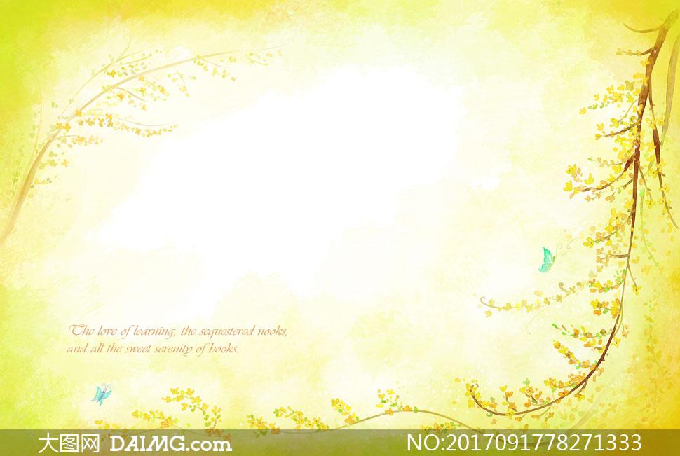 设计素材创意设计春天水彩插画树藤藤蔓树枝花朵花枝枝头蝴蝶边框黄色