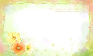 花朵装饰水彩边框背景创意分层素材